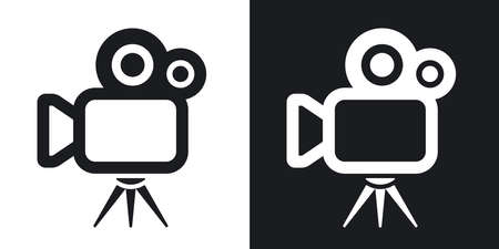 tripod projector: Vector movie camera icon. Two-tone version on black and white background
