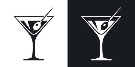 Vector martini glass icon. Two-tone version on black and white background