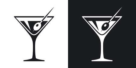 Jogo do ícone do copo de martini. versão dois-tom no fundo preto e branco