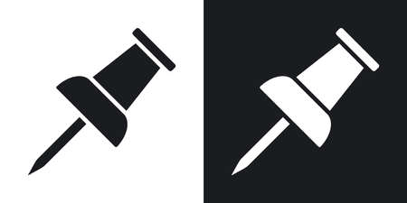 push pin icon: Vector push pin icon. Two-tone version on black and white background