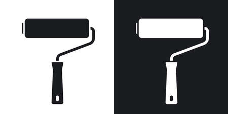 Vector paint roller icon. Two-tone version on black and white background Vectores