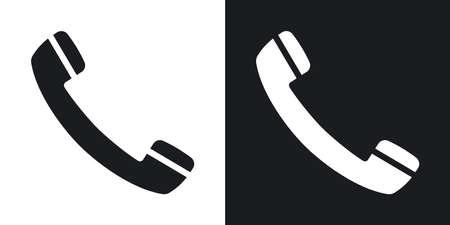 Vector icono de teléfono. versión de dos tonos con el fondo blanco y negro Foto de archivo - 55487476