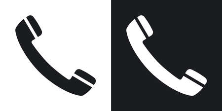 Vector phone icon. Two-tone version on black and white background
