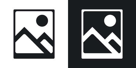 photograph: Vector photograph icon. Two-tone version on black and white background