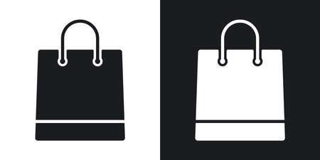Vector icono de la bolsa de compras. versión de dos tonos con el fondo blanco y negro
