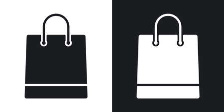 Vector shopping bag icon. Two-tone version on black and white background Stock Vector - 55487483