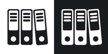 ring binders: Vector ring binders icon. Two-tone version on black and white background Illustration