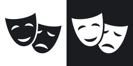 stage props: Vector theatrical masks icon. Two-tone version on black and white background Illustration