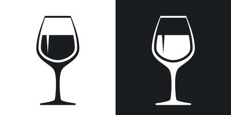 Vector wineglass icon. Two-tone version on black and white background