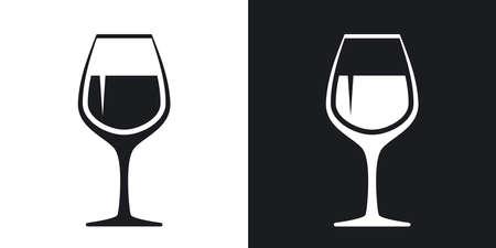 Wektor ikonę wineglass. Wersja dwutonowa na czarnym i białym tle