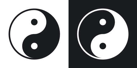 yang style: Yin and yang symbol, vector. Two-tone version on black and white background Illustration