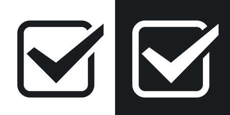 check mark icon: Check mark icon, vector illustration. Two-tone version on black and white background Illustration