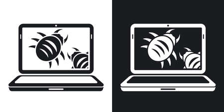 Laptop is infected by malware, vector illustration. Two-tone version on black and white background