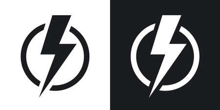 稲妻のアイコン、ベクトル。黒と白の背景にツートン カラー バージョン  イラスト・ベクター素材