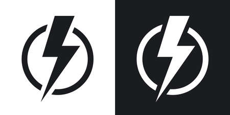 Lightning bolt icon, vector. Two-tone version on black and white background Ilustração