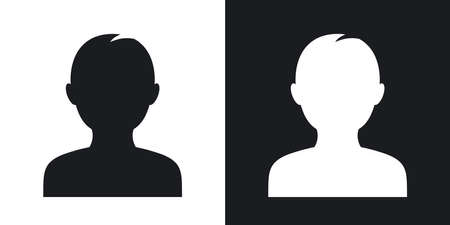 profile silhouette: Male user icon, vector. Two-tone version on black and white background