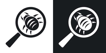 scaner: Vector antivirus scanning icon. Two-tone version on black and white background Illustration