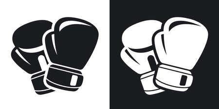 ボクシング グローブのアイコンをベクトルします。黒と白の背景にツートン カラー バージョン
