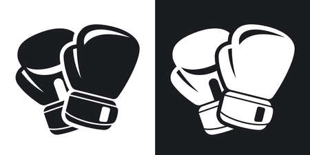 Vector boxing gloves icon. Two-tone version on black and white background Çizim
