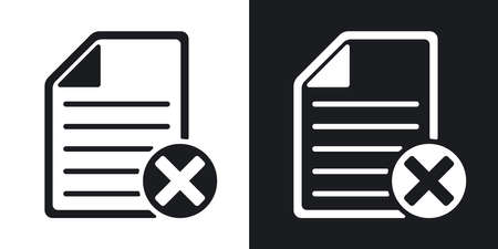 abort: Vector document icon with delete or abort glyph. Two-tone version on black and white background Illustration