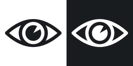 ベクトルの目のアイコン。黒と白の背景にツートン カラー バージョン 写真素材 - 55487574