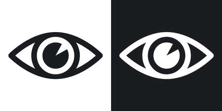 Vector eye icon. Two-tone version on black and white background Çizim