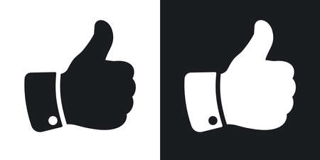 thumb up icon: Vector hand with thumb up icon. Two-tone version on black and white background