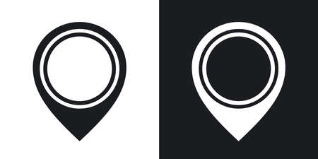 tip style design: Vector map pointer icon. Two-tone version on black and white background