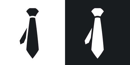 dressmaking: Vector necktie icon. Two-tone version on black and white background Illustration