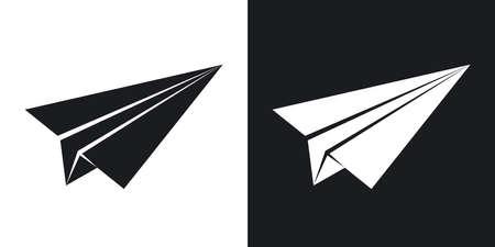 벡터 종이 비행기 아이콘입니다. 검은 색과 흰색 바탕에 2 색 버전 스톡 콘텐츠 - 55487599