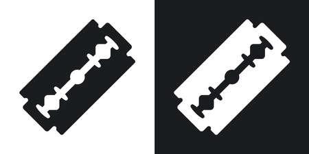 Vector Rasierklinge Symbol. Zwei-Ton-Version auf schwarzem und weißem Hintergrund