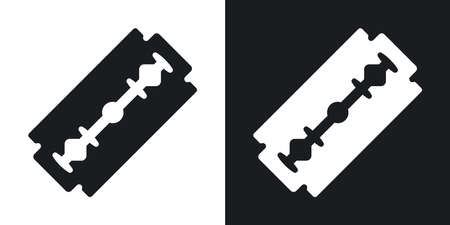 Vector razor blade icon. Two-tone version on black and white background