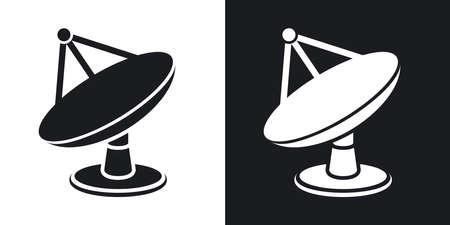 piatto: Vector parabola satellitare icona. versione bicolore su sfondo bianco e nero