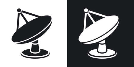 Vector satellite dish icon. Two-tone version on black and white background