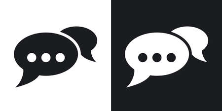 chat bubbles: Vector speech bubbles chat icon. Two-tone version on black and white background Illustration