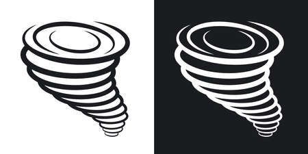 tornado wind: Vector tornado icon. Two-tone version on black and white background