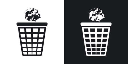 cesto basura: Vector icono de la papelera con el papel arrugado. versión de dos tonos con el fondo blanco y negro