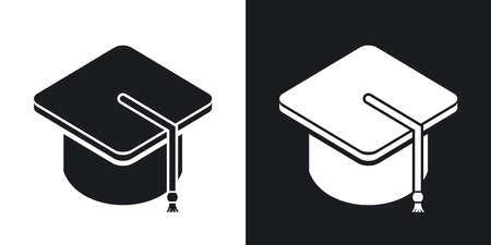 bachelor's: Vector bachelors hat icon. Two-tone version on black and white background Illustration
