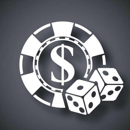 gambling chips: Gambling chips with two dices, vector icon