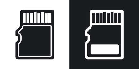gigabyte: Vector micro SD card icon. Two-tone version on black and white background