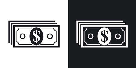 paper currency: Vector money icon. Two-tone version on black and white background Illustration