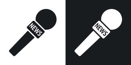 talk show: Vector news microphone icon. Two-tone version on black and white background Illustration