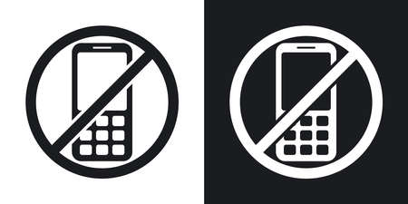 no cell phone sign: Vector no phone sign. Two-tone version on black and white background
