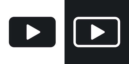 black button: Vector play button icon. Two-tone version on black and white background