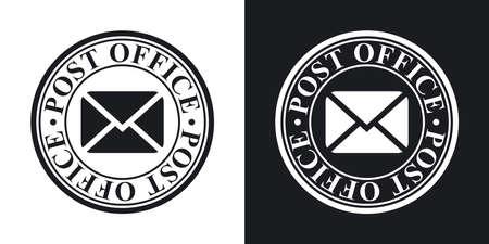 Vector icono de sello postal. versión de dos tonos con el fondo blanco y negro