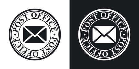 old postcards: Vector postal stamp icon. Two-tone version on black and white background