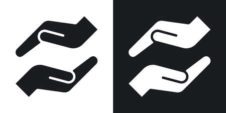 hands cupped: Vector protecting hands icon. Two-tone version on black and white background