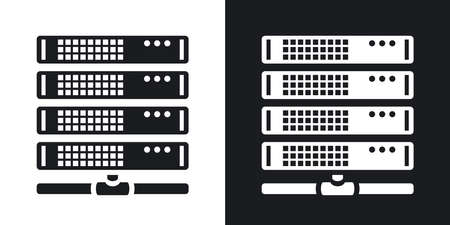 Vector server icon. Two-tone version on black and white background Vektorové ilustrace