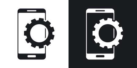 Vector icône Paramètres de smartphone. Version à deux tons sur fond noir et blanc