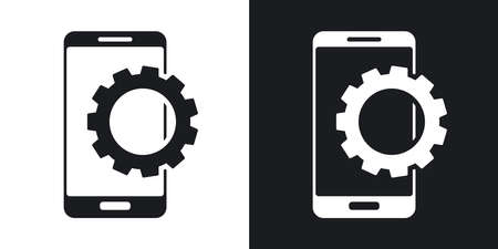 settings: Vector smartphone settings icon. Two-tone version on black and white background